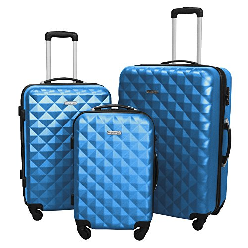 3 PC Luggage Set Durable Lightweight Hard Case Spinner Suitecase LUG3 SS577A BLUE BLUE