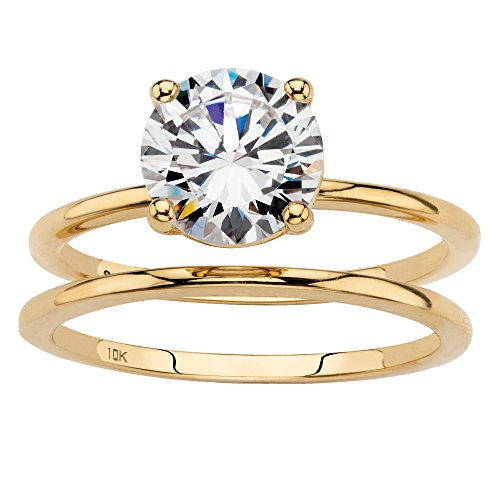 Solid 10K Yellow Gold 2-Piece Solitaire Bridal Ring Set, Round Cubic Zirconia Size 8 by Palm Beach Jewelry