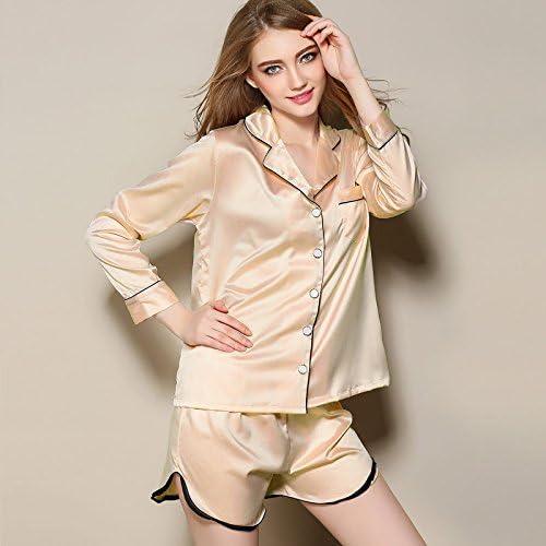 WDDGPZSY Camisa De Dormir/Camisón/Ropa De Dormir/Pijamas/Thin Section Women Pyjama Set Fashion Long Sleeve Topwear + Short Set Pijama Femenino Casual Suelto, Amarillo, XL: Amazon.es: Hogar