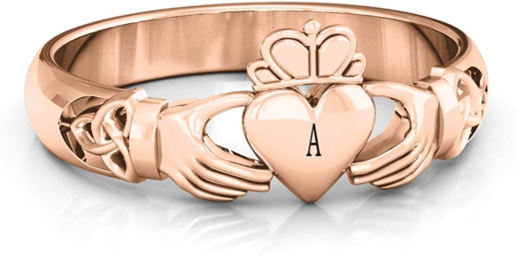 10K Gold Celtic Knotted Claddagh Ring with Personalized Engraving by JEWLR