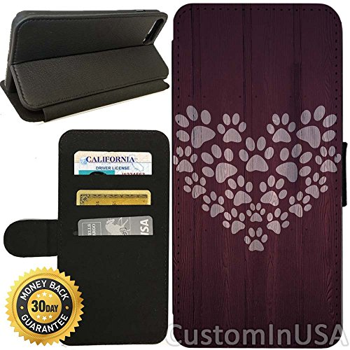 Flip Wallet Case for iPhone 7 (Paw Print Heart Design) with Adjustable Stand and 3 Card Holders | Shock Protection | Lightweight | by Innosub