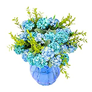 Yunuo 3 pcs Artificial Silk Flower Bouquet Hydrangea 4 Colors Spring Decorations for Home Wedding-Blue (Blue) 40