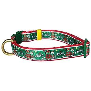"Pet Rejoir Creative Christmas Dog Collar- XOXO Gifting Love Holiday Dog Collar- Neck 15~19"" Adjustable Collar for Medium Dogs"