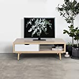 Midcentury TV Stand Console Table with drawer storage with Beechwood Legs TV Cabinet for Home Entertainment Living Room Furniture, White Oak Color
