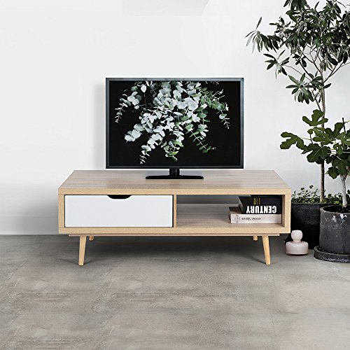 FurnitureR TV Stand Entertainment Center Console Storage Cabinet Composite Wood Board Beech White Beech Entertainment Center