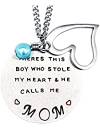 Mother's Day Gift From Son Necklace/Keychain, There Is A Boy Who Stole My Heart, He Calls Me Mom