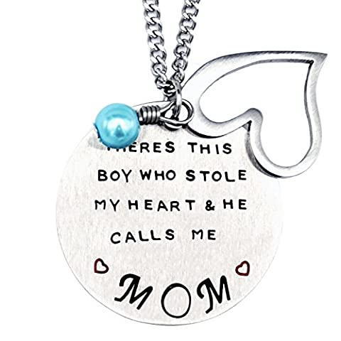 O.RIYA Mother's Day Gift From Son Necklace , mom gifts jewelry, There Is A Boy Who Stole My Heart , He Calls Me Mom - Mom Jewelry