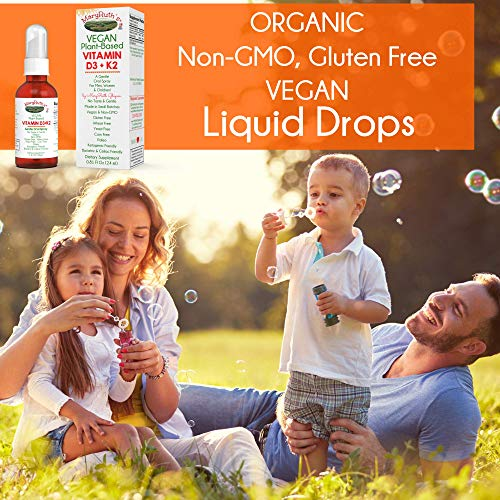 Organic Vitamin D3+K2 (MK-7) Liquid Drops by MaryRuth's Non-GMO Vegan Gluten Free Paleo, Ketogenic, Bariatric Friendly and Celiac Friendly. for Men, Women & Children 1oz Glass Bottle