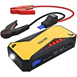 TENKER 600A Peak 18000mAh Portable Car Jump Starter (up to 6.5L Gas/ 5.2L Diesel Engine) Battery Booster Power Pack, Power Bank with Smart Charging Port, LED Flashlight, LCD Screen & Compass