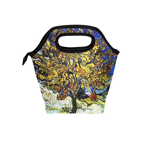 Vipsk Lunch Bag for Adults/Men/Women/Kids,Van Gogh Mulberry Tree Painting Lunch Box, Waterproof Outdoor Travel Picnic Carry Case Lunch Handbags Tote with Zipper, ()