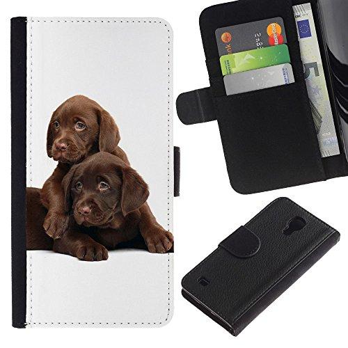 EuroCase - Samsung Galaxy S4 IV I9500 - chocolate retriever Labrador puppies - Cuero PU Delgado caso cubierta Shell Armor Funda Case Cover