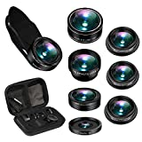 Phone Camera Lens, AiKEGlobal 7 in 1 Wide Angle, Macro, Fisheye, 2X Telephoto, CPL, Starbrust, Kaleidoscope Lens Compatible iPhone, Samsung, Most Smartphone