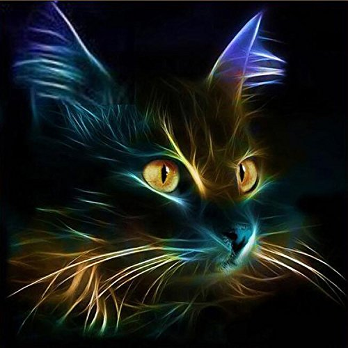 ZHENC 5D Dream Abstract Black Cat Face Diy Square Diamond Painting Animals Embroidery Full Drill Craft Decor Cross Stitch -