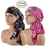 head scarves for women - EINSKEY Womens Head Scarf 2-Packs Multifunctional Headwear for Cancer Chemo Hair Loss Sleeping Caps Long Ties Bandana Tichel Satin Head Wrap Turban