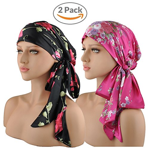 Silk Winter Hat (Chemo Caps For Women 2-Packs Silk Satin Headscarf Pre Tied Bandana Chemo Hat Tichel Long Hair Care Head-Wrap (Black & Pink))