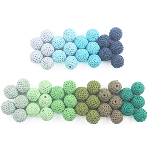 Crochet Beads Wooden Ball 20m 50pcs Cover with Cotton Thread Decorative Baby Room Nursing Toys, Blue and Green Series, Including Beading Needle and Cord