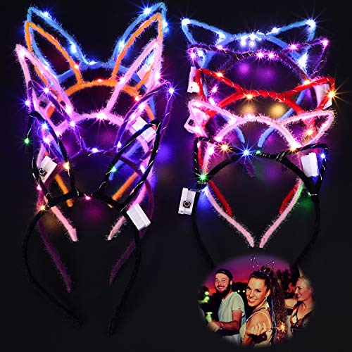 10 Pieces LED Cat Ear Headband Cute Flashing Rabbit Ear Hair Bands for Women Girls Hair Accessories, Assorted Colors ()