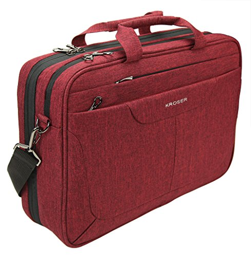 KROSER Laptop Messenger Bag 15.6 inch Tablet Briefcase Water Repellent Computer Case Sleeve for College/School/Business/Women/Man with RFID Pockets and Checkpoint Friendly Laptop Bag-DarkRed (Red Laptop Bag)