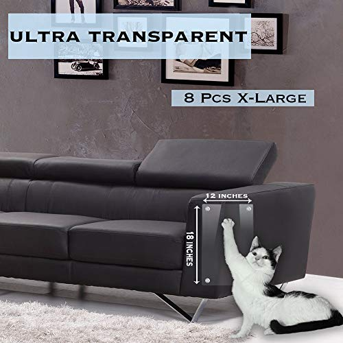 "Premium Furniture Scratch Protector from Cats - Cat Scratch Deterrent & Repellent for Furniture - 8 Pack X-Large 18""x12"" Vinyl Clear Cat Scratcher Couch Protection - Cat Scratching Corner Guards from UNPet"