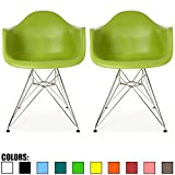 2xhome Set of 2 Green Mid Century Modern Vintage Designer Molded Shell Plastic Armchair With Arms Back Chrome Wire Metal Base Eiffel Dining Chairs Living Room Accent Dowel Office Guest Work Desk DAR Review
