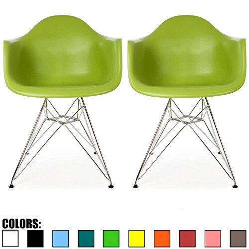 2xhome Set of 2 Green Mid Century Modern Vintage Designer Molded Shell Plastic Armchair With Arms Back Chrome Wire Metal Base Eiffel Dining Chairs Living Room Accent Dowel Office Guest Work Desk DAR