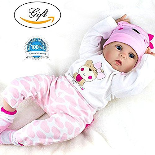Reborn Baby Doll Girl Look Real Silicone Pink Outfit 22 Inches