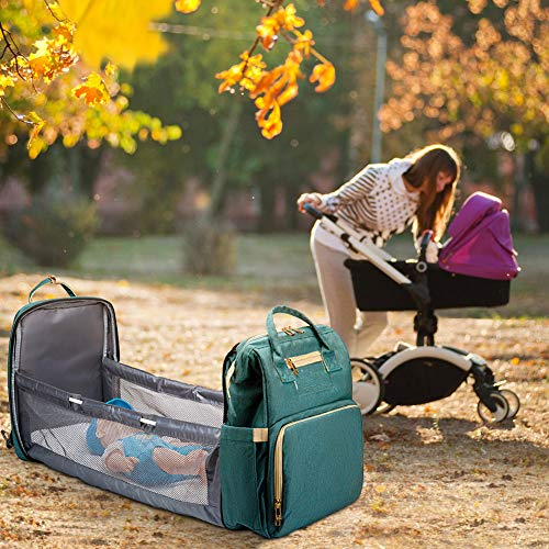 51S7wA6l%2BSL - Cosy Casa Baby Travel Diaper Bag Backpack With Bassinet Changing Mat Changing Station,Folding Crib Bag Foldable Mommy Bag For Baby Girl Boy Infant Mom Diaper-Bag-Backpack-Baby-Travel(Green)
