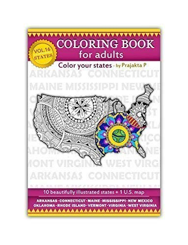 Volume 16 - USA state maps adult coloring book, stress relieving patterns for all, spiral bound Patriotic coloring gifts