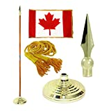 Canada 3ft x 5ft Flag, Flagpole, Base, and Tassel (Metal Spear, 7 Ft Oak Pole)
