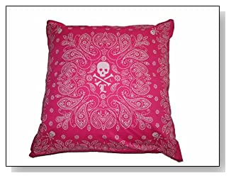 Lauren University By Ralph Lauren Pink Tate Skull & Crossbone Bandana Throw Pillow