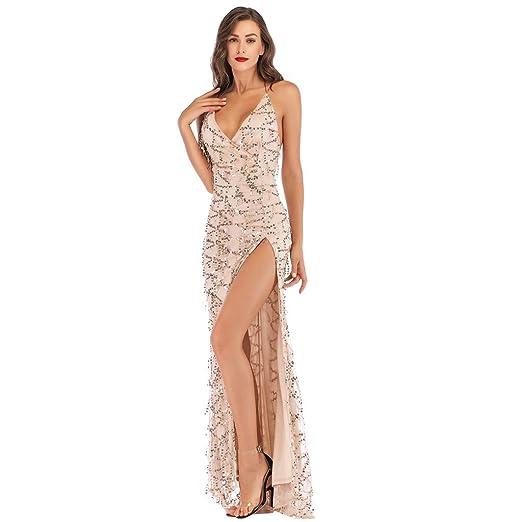 Amazon.com  2019 Women Sexy Halter Backless Cocktail Prom Gown Dress Deep V  Neck High Split Wedding Bridesmaid Evening Long Dress  Garden   Outdoor 61752bf0aa58