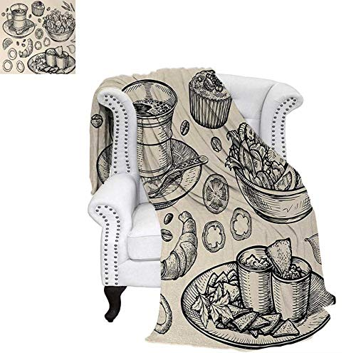 Custom Design Cozy Flannel Blanket Nachos Croissant Tea Onion Rings and Muffins Monochrome Illustration of Food Weave Pattern Blanket 50