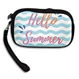 CMTRFJ Unisex Wallet for Woman Ladies -Hello-Summer-Blue-and-White-Waves Purse Bag Men Gentlemen