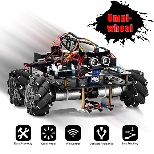 OSOYOO Omni-directinal Mecanum Wheels Robot Car Kit for Arduino Mega2560|Metal Chassis DC Speed Encoder Motor Robotic DIY|STEM Remote Controlled Educational | Mechanical DIY Coding for Kids Teens Adul