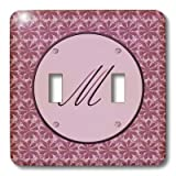 3dRose lsp_36039_2 Elegant Letter M in a Round Frame Surrounded by a Floral Pattern All in Rose Pink Monotones Double Toggle Switch