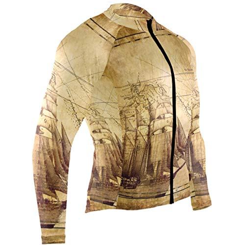 Old Map and Sailing Ship Mens Cycling Jersey Top Long Sleeve Outdoor Cycle Clothing Outfit