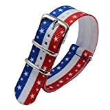 Carty Watch Bands - 22 mm American Flag Red White Blue Ballistic Nylon and Stainless Steel Straps offers