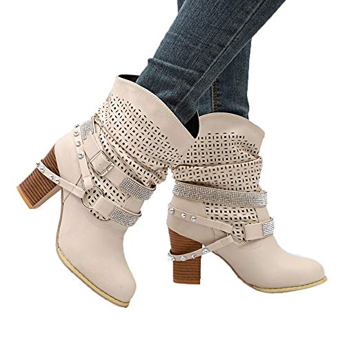 Farjing Women Autumn Winter Hollow Out Ankle Boots Ladies Heel Half Boots Shoes(US:8,Beige)