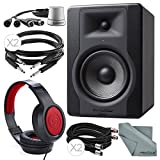 M-Audio BX5 D3 5'' 100W Powered Studio Reference Monitor and Deluxe Bundle w/ TC Electronic Level Pilot + Closed-Back Stereo Headphones + Cables + Fibertique