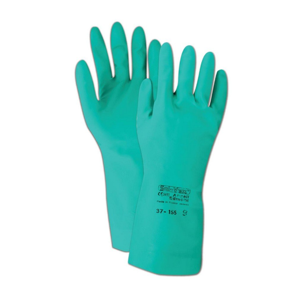 Ansell Gloves 102935 Ansell Sol-Vex 37-155 Unsupported Nitrile Gloves, Size 10, Green (Pack of 12)