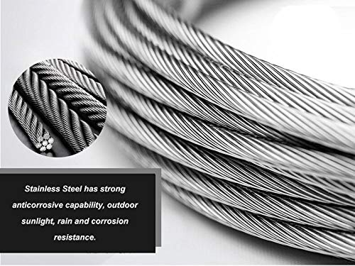 UGarden 150 Feet 1//8 Inch Stainless Steel Aircraft Wire Rope Cable for Deck Stair Railing Hardware DIY Balustrade 7x7 T316 Marin Grade
