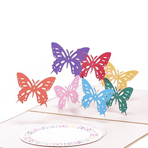 Paper Spiritz Butterfly Dances Pop up Cards Birthday, Anniversary Thank You Card for Husband Daughter Wife, Handmade Graduation Sympathy Blank Card, Laser Cut Gift Card with Envelopes all Occasions]()
