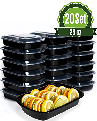 Meal Prep Food Storage Containers with Lids, 1 Compartment 28 oz (20 Set) - BPA Free, Lunch Portion Control, Dishwasher, Freezer Safe, Microwavable, Reusable or Disposable Plastic Bento boxes