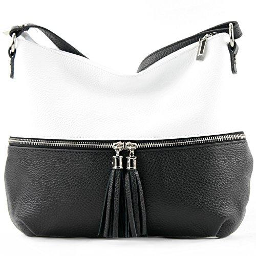 in Weiß de Italy Bolso Made para modamoda Schwarz mujer cruzados ST6qUqw