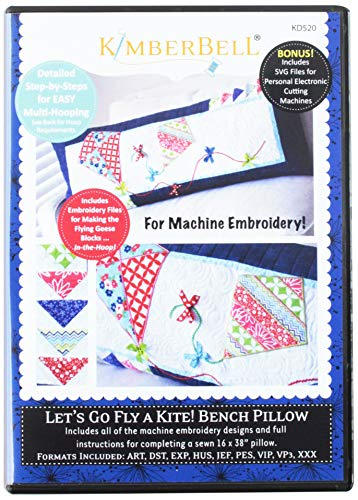 - KimberBell Let's Go Fly a Kite! Bench Pillow CD for Machine Embroidery KD520