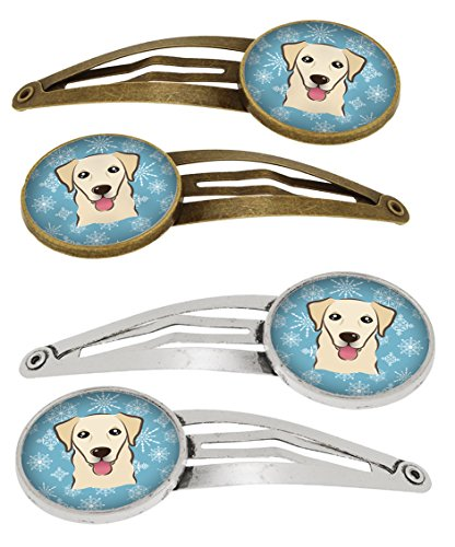 (Caroline's Treasures BB1686HCS4 Snowflake Golden Retriever Set of 4 Barrettes Hair Clips, OS, multicolor)