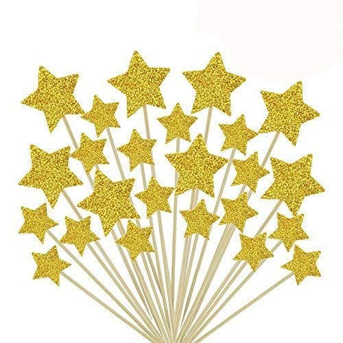 HYOUNINGF 50 Pcs Gold Star Cupcake Toppers,Star Cupcake Toppers Twinkle Twinkle Little Star Decorations Birthday Cupcake Toppers Glitter Gold Cupcake Toppers for Party Cake Decorations]()