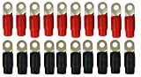 0 Gauge Ring Terminal 20 Pack 1/0 AWG Wire Crimp Cable- Red/Black Boots- 5/16