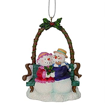 """WL SS-WL-93966 Christmas Holiday Ceramic Snow Couple on Bench Ornament, 3.5"""""""