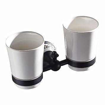 Accesorios de baño retro negro todo cobre azul y porcelana blanca, doble taza de cepillo de dientes titular: Amazon.es: Hogar